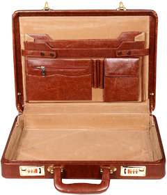 Leather World Best Quality PU Leather 17 inch Briefcase cum Office Bag (Tan)