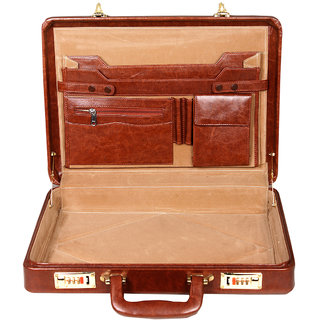 Leather World Best Quality Pu 17 Inch Briefcase Office Bag Tan