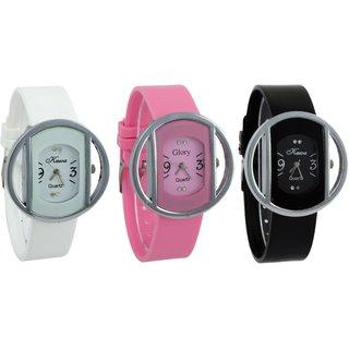 i DIVA'S Combo of Three Kawa Circular Silver Case Watches