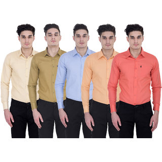 London Looks Men's  Regular Fit Casual Poly-Cotton Shirt Pack of 5