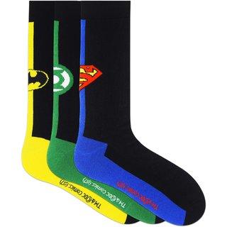 Justice League Mens Crew Socks - Superman Batman Green Lantern - Pack of 3