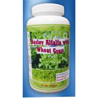 Hawaiian Herbal, Hawaii,USA - BARLEY ALFALFA WITH WHEAT GRASS POWDER - 200 gm (Buy any Healthcare Supplement  Get Same Drops Free)