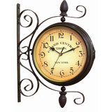"""Antique Vintage Finish Double Sided Wall Clock 8"""" GRAND CENTRAL NEW YORK STATION"""