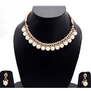 Mukawil White Alloy Non Plated Necklcae Set For Womens