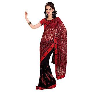 Triveni Multicolor Georgette Embroidered Saree With Blouse
