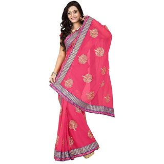 Triveni Multicolor Chiffon Embroidered Saree With Blouse