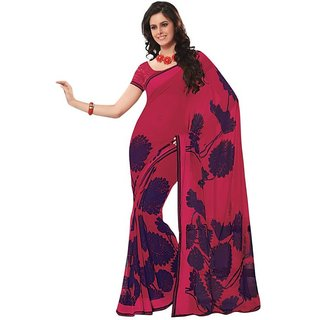 Triveni Multicolor Satin Chiffon Printed Saree With Blouse