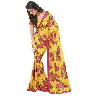 Triveni Yellow Georgette Printed Saree With Blouse