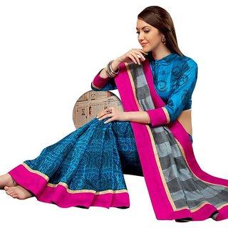 Triveni Blue Bhagalpuri Silk Printed Saree With Blouse
