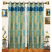 Decor Bazaar Designer Leaf Aqua Blue Polyester Curtain-Set Of 2-7 Feet