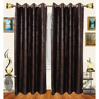 Decor Bazaar Set Of 2 Floral Self-Print Brown Polyester Curtains-7 Feet