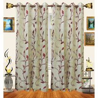 Decor Bazaar Set Of 2 Sheer Leaf Panel Maroon Curtains-7 Feet