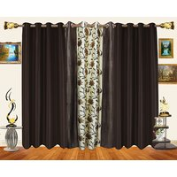Decor Bazaar Set Of 3 Floral Panel Brown Beige Curtains-7 Feet