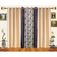 Decor Bazaar Set Of 3 Leaf Blue Polyester Curtains-7 Feet