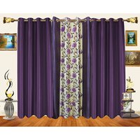 Decor Bazaar Set Of 3 Floral Panel Maroon Beige Curtains-7 Feet