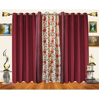 Decor Bazaar Set Of 3 Floral Panel Green Beige Curtains-7 Feet