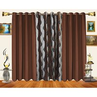 Decor Bazaar Set Of 3 Sheer Leaf Panel Maroon Curtains-7 Feet