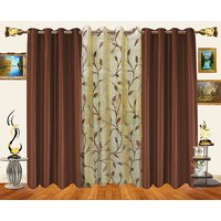 Decor Bazaar Set Of 2 Royal Crushed Polyester Beige Eyelet Curtain-7 Feet