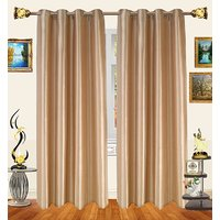 Decor Bazaar Set Of 2 Royal Crushed Polyester Coffee Brown Eyelet Curtain-7 Feet