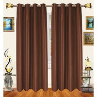 Decor Bazaar Set Of 2 Royal Crushed Polyester Dark Peach Eyelet Curtain-7 Feet