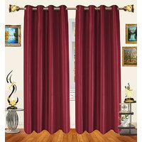 Decor Bazaar Set Of 2 Royal Crushed Polyester Pink Eyelet Curtain-7 Feet