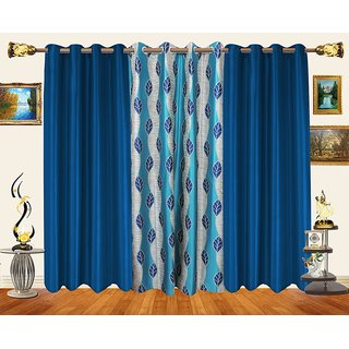 Decor Bazaar Set Of 3 Leaf Aqua Blue Polyester Curtains-7 Feet