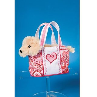 Pink Heart Tote With Terrier 7&Quot; By Douglas Cuddle Toys