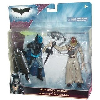 Batman The Dark Knight Movie Series 2 Pack 5 Inch Tall Action Figure - Riot Strike Batman With Shield And Baton Versus Fear Shot Scarecrow With Fear Gas Sprayer