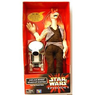 Star Wars Episode 1 &Quot;JAR JAR BINKS Wake-Up System With Pit Droid&Quot; - Your Time Telling Friend