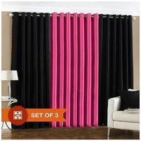Handloomdaddy 2 Black & 1 Dark Pink Eyelet Door Curtain