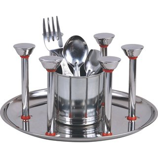 GLASS AND SPOON STAND - STAINLESS STEEL
