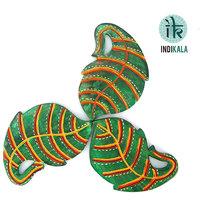 Green Leaf Shaped  Coasters (set Of 3)