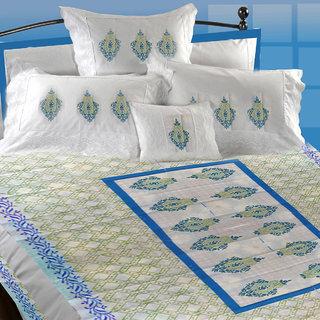 Aerka Block Printed Cotton Bed Sheet White