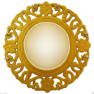Beautifully Wooden Carved Golden Mirror Frame Cum Key Hanger