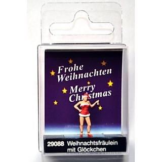 Female Ringing Bell Wearing Christmas Dress &Amp; Santas Hat HO Preiser Models