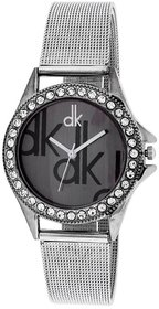 Dk Silver Black Dial Analogue Watch for Girls and Women 6 MONTH WARRANTY