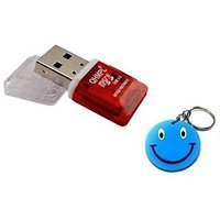 Quantum Micro SD USB 2.0 Card Reader With LED 1 Pc With Free Smiley Key Chain.