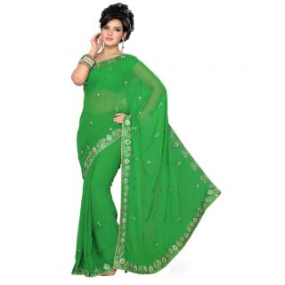 Triveni Multicolor Faux Georgette Embroidered Saree With Blouse
