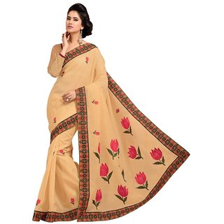 Triveni Multicolor Cotton Embroidered Saree With Blouse