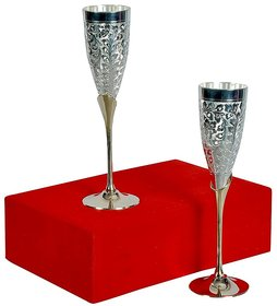 Satya Silver Plated Brass Premium Goblet Champagne/Wine Glasses Set Of 2