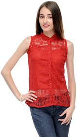 Klick2Style Red Sleeveless Plain Crop Top