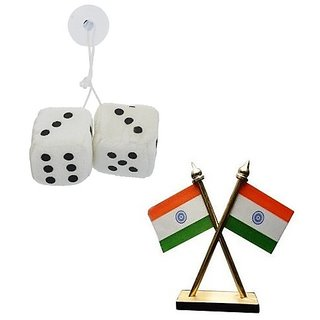 De AutoCare Combo of 2 in 1 Hanging Dice Perfume Air Freshner  With Car Dashboard Indian Flag