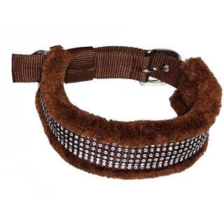 Petshop7 High Quality  Stylish Nylon Fur Dog Collar -1.25 Inch -Large Size (Brown). Neck Size ( 20-24.50 inch)