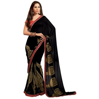 Triveni Multicolor Viscose Jacquard Embroidered Saree With Blouse