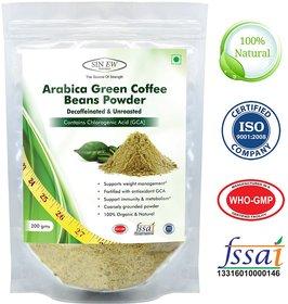 Sinew Nutrition Arabica Green Coffee Beans Powder 200gm, Decaffeinated  Unroasted Arabica Coffee Powder for Weight Loss