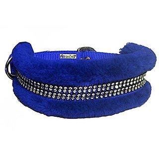 Petshop7 High Quality  Stylish Nylon Fur Dog Collar -1.25 Inch -Large Size (BLue). Neck Size ( 20-24.50 inch)