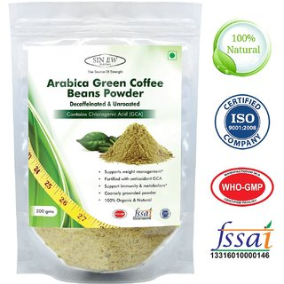 Sinew Nutrition Arabica Green Coffee Beans Powder 200gm, Decaffeinated  Unroasted Arabica Coffee Powder for Weight Loss