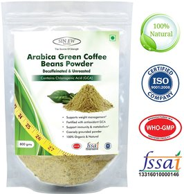 Sinew Nutrition Arabica Green Coffee Beans Powder 800gm, Decaffeinated  Unroasted Arabica Coffee for Weight Loss