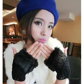 Winter Warm Gloves (Wrist Length) Fingerless Knitted Gloves with Rabbit Fur for