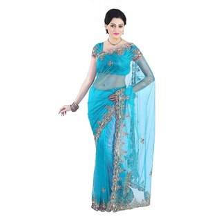 Triveni Multicolor Net Self Design Saree With Blouse